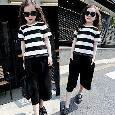 小衣衫童裝  中大童黑白寬條短袖T+闊腿中褲套裝1070352