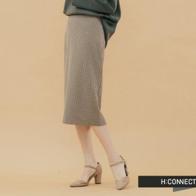 H:CONNECT 韓國品牌 女裝- 直筒格紋中長裙-棕