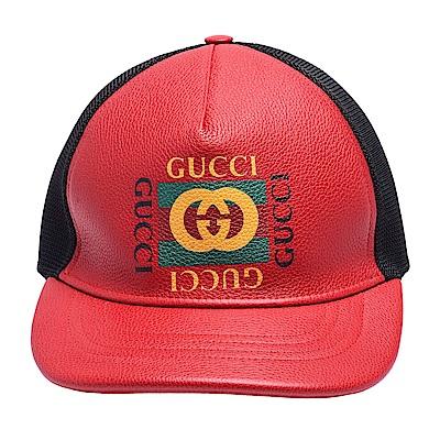 GUCCI 經典復古GG綠紅綠標誌印花牛皮棒球帽(紅)