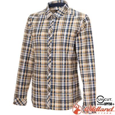 Wildland 荒野 0A72201-115杏黃色 女彈性針織格紋保暖襯衫