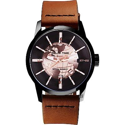 RELAX TIME RT62S 系列 人動電能地球手錶-玫塊金x咖啡色帶/45mm