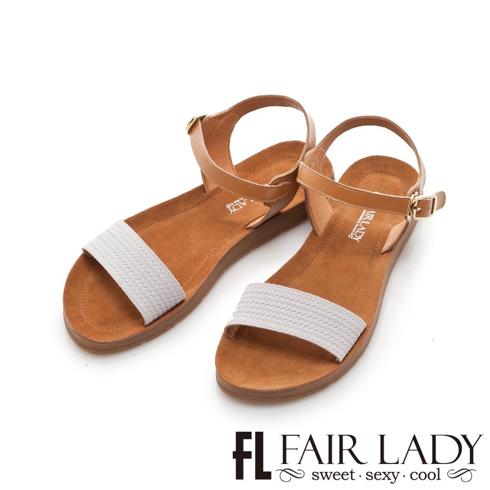 Fair Lady 真皮一字寬帶繫踝平底涼鞋 藍