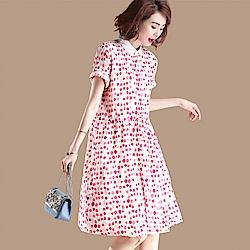 初色  糖果色波點連衣裙-共色-(M-2XL可選)