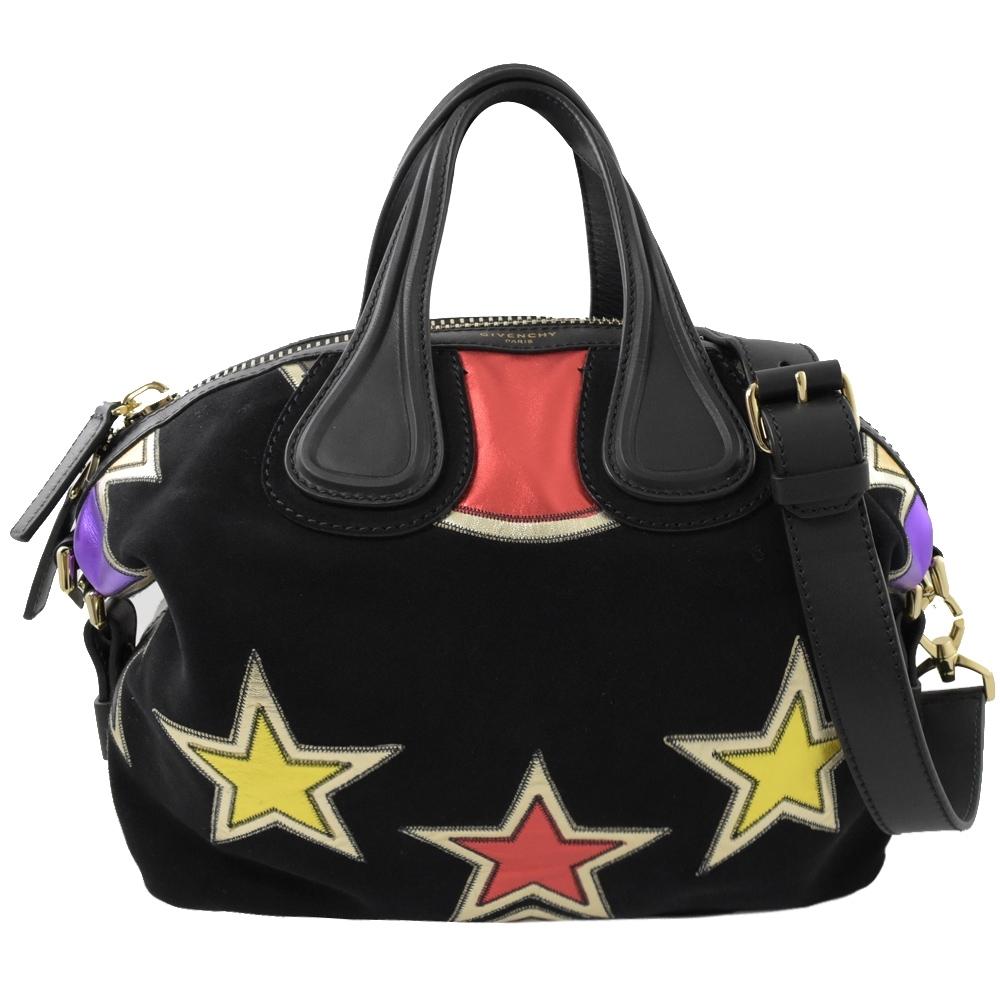Givenchy Nightingale 麂皮牛皮星星拼接款兩用包(黑/小)