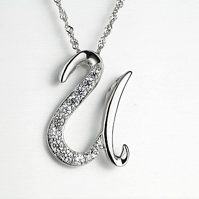 米蘭精品 925純銀項鍊-時尚簡約U英文字母