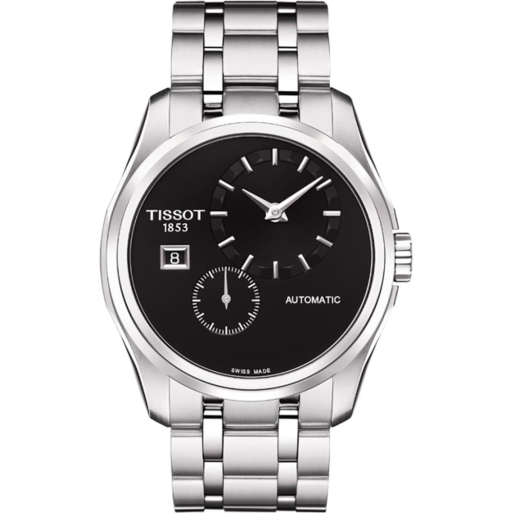 TISSOT Couturier 建構師偏心系列機械腕錶-黑/39mm T0354281105100