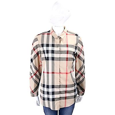 BURBERRY 經典格紋彈性棉質襯衫(卡其色)