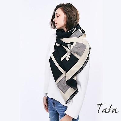 蝴蝶結圖案撞色流蘇圍巾 TATA