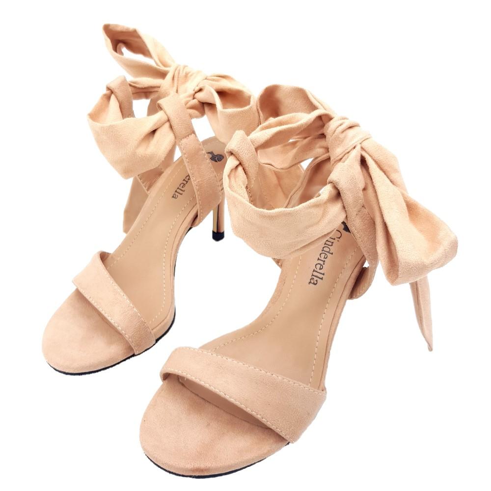 Cinderella Fashions小尺碼極簡性感一字繫踝綁帶中跟涼鞋-粉紅色