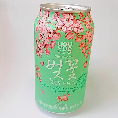 韓國YOUUS 櫻花白葡萄椰果飲(345mlx6入)