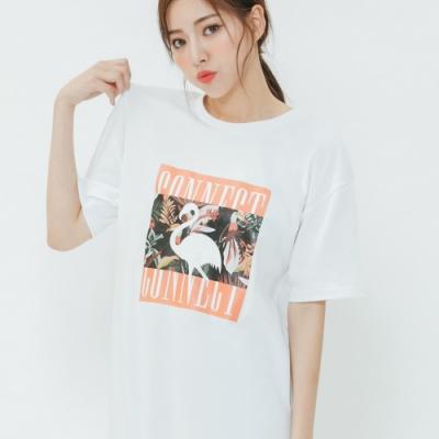 H:CONNECT 韓國品牌 女裝-夏日圖印休閒洋裝-白