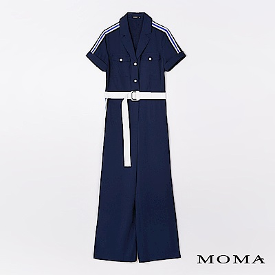 MOMA 厚雪紡織帶滾邊連身褲