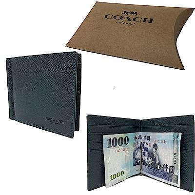 COACH 男款8卡鈔票夾短夾禮盒(全皮-英國藍)