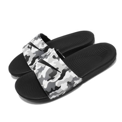 Nike 拖鞋 Kawa Slide Print 套腳 女鞋 輕便 柔軟緩震 迷彩 大童 夏日 穿搭 灰 黑 819358 008