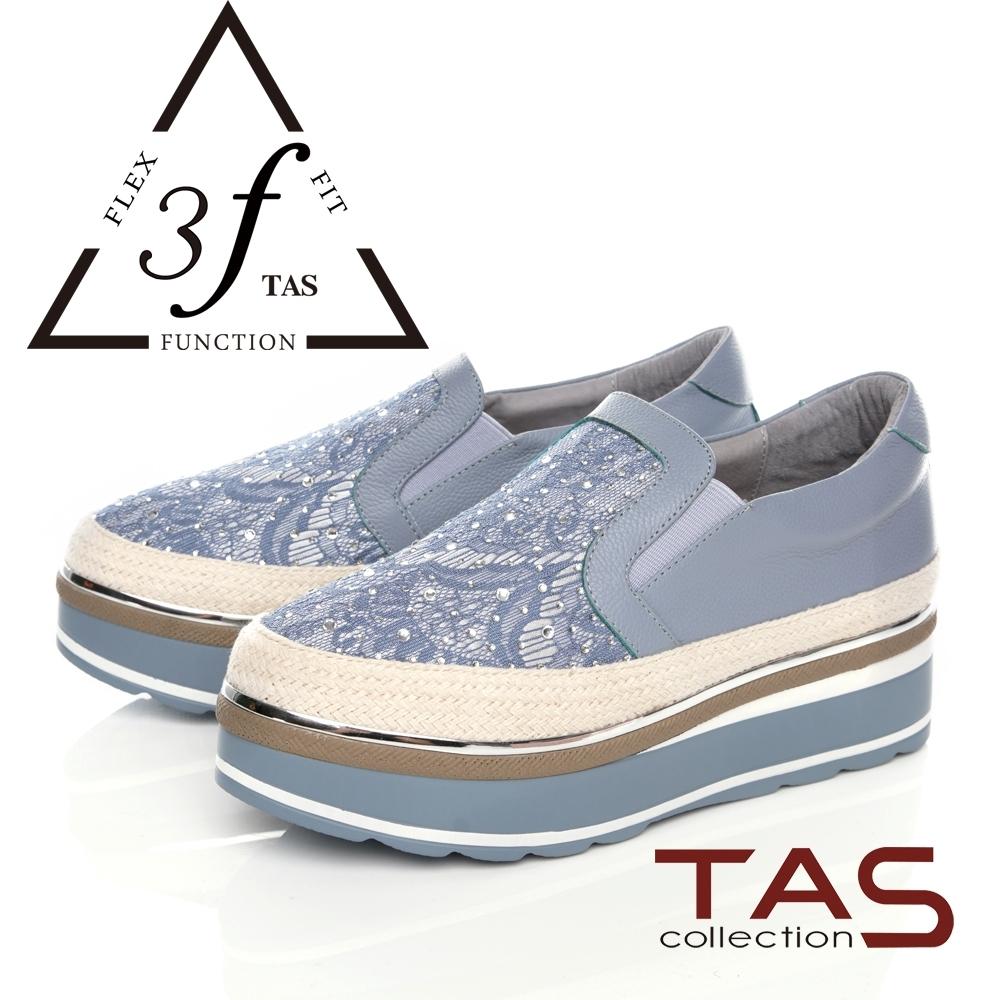 TAS異材質拼接厚底懶人鞋-天空藍