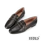 HERLS樂福鞋-全真皮兩穿縫線橫帶平底鞋樂福鞋-黑色