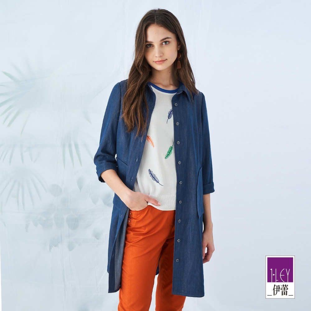 ILEY伊蕾 微光澤仿丹寧七分袖長版外套(藍)