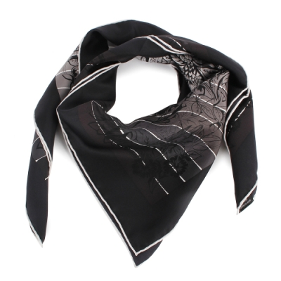 HERMES  Jungle 叢林黑豹披肩方形絲巾-黑/白