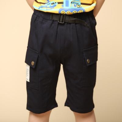 Azio Kids 男童 短褲 側大口袋貼布標純色休閒短褲(藍)