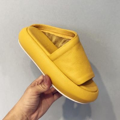 KEITH-WILL時尚鞋館 休閒露趾外穿厚底拖鞋-黃