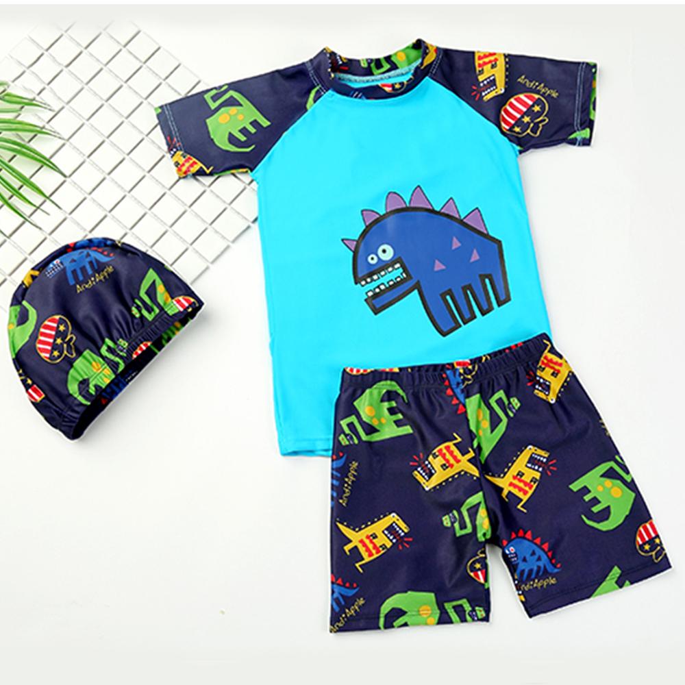 JoyNa兒童泳衣泳褲卡通恐龍圖案三件套組