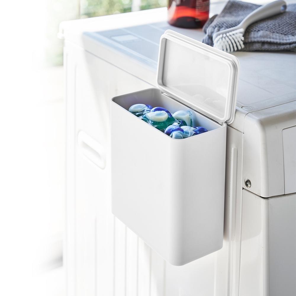 日本【YAMAZAKI】tower磁吸式洗衣球收納盒(白)★居家收納/收納箱/磁吸式