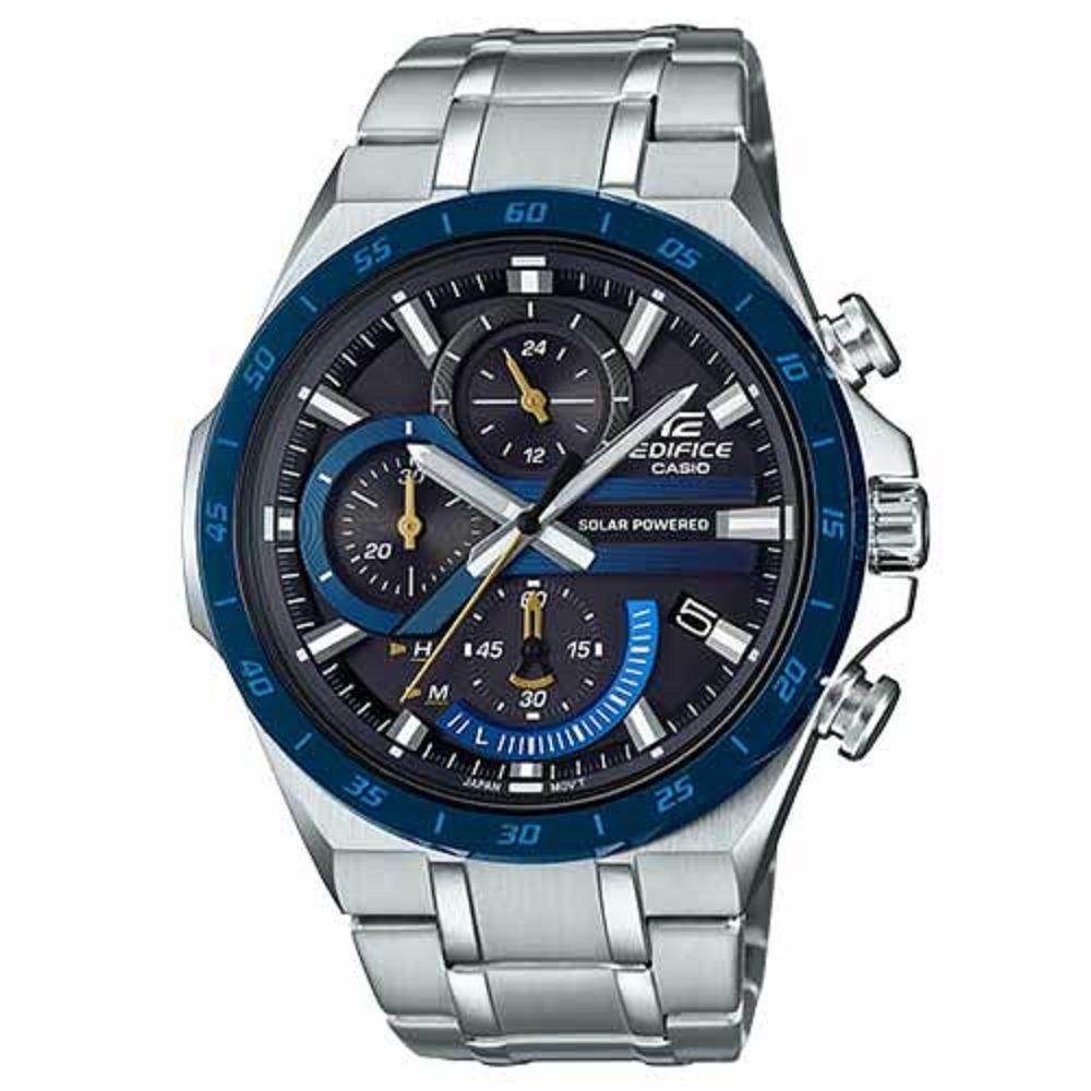EDIFICE計時碼錶系列太陽能不鏽鋼賽車腕錶-藍(EQS-920DB-2A)/56.5mm