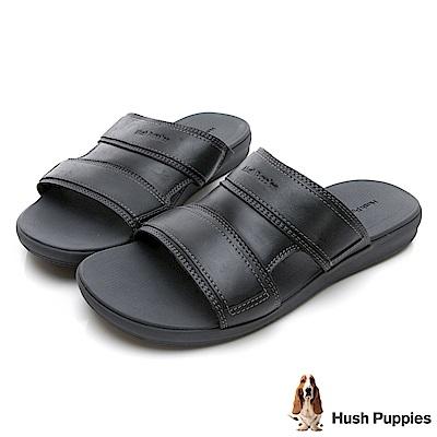 Hush Puppies LEONBERGER 舒適皮革拖鞋-黑