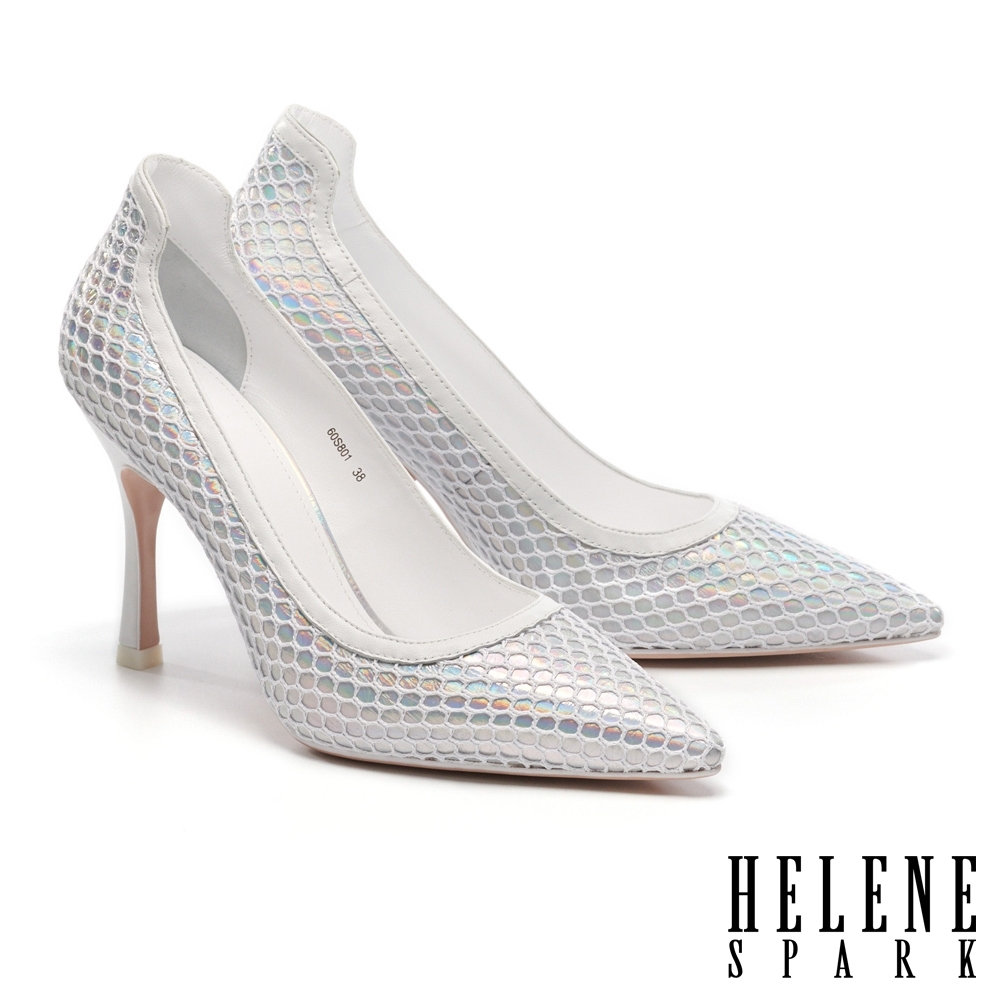 高跟鞋 HELENE SPARK 科幻未來格紋網布異材質尖頭高跟鞋-銀