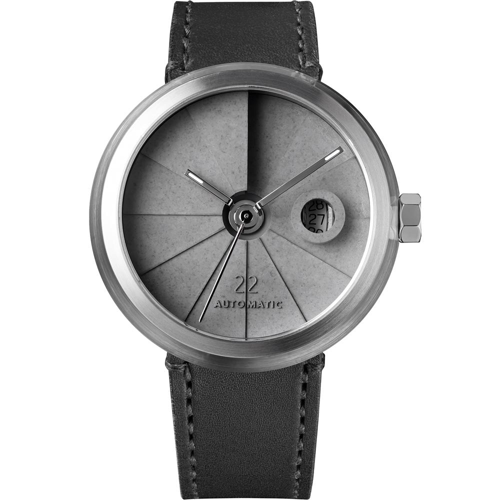 四度空間水泥機械錶-簡約白鋼款/45mm
