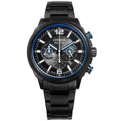 CITIZEN 星辰表 光動能限量款計時碼錶日期防水100米不鏽鋼手錶-鍍黑/43mm