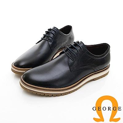 【GEORGE 喬治皮鞋】休閒系列 綁帶柔軟紳士休閒皮鞋-深藍色