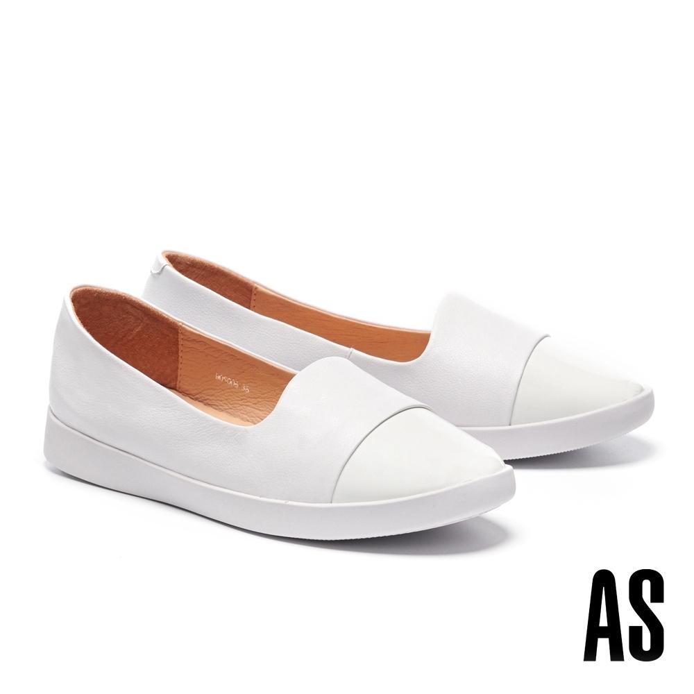 休閒鞋 AS 簡約率性異材質拼接全真皮厚底休閒鞋-白