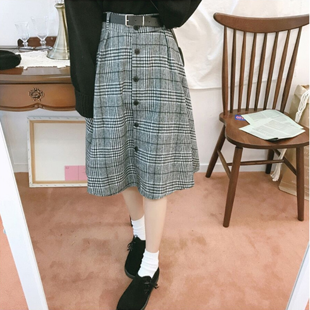 JILLI-KO 韓版千鳥格毛呢傘襬裙- 黑色 (黑色系)