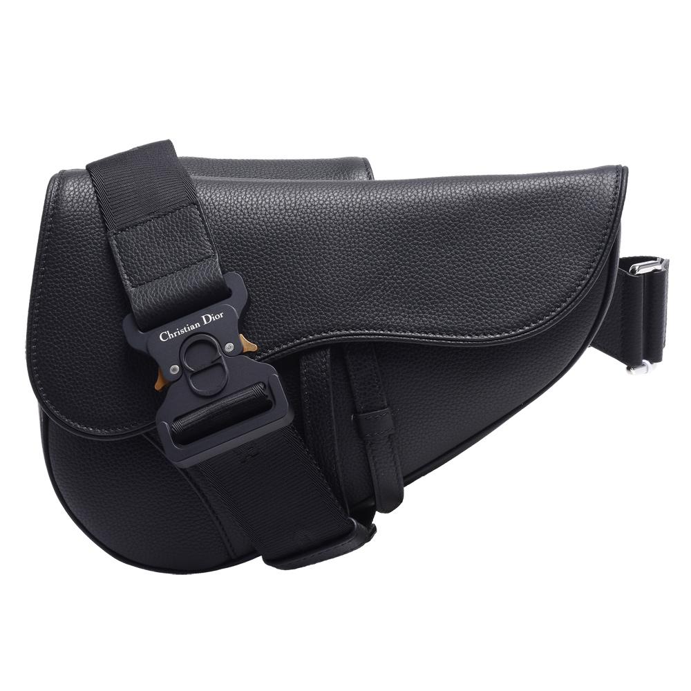 Dior 經典Saddle系列頂級粒面小牛皮馬鞍斜背包(黑)