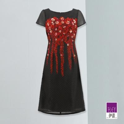 ILEY伊蕾 手縫亮片花朵緹花蓋袖洋裝(黑)
