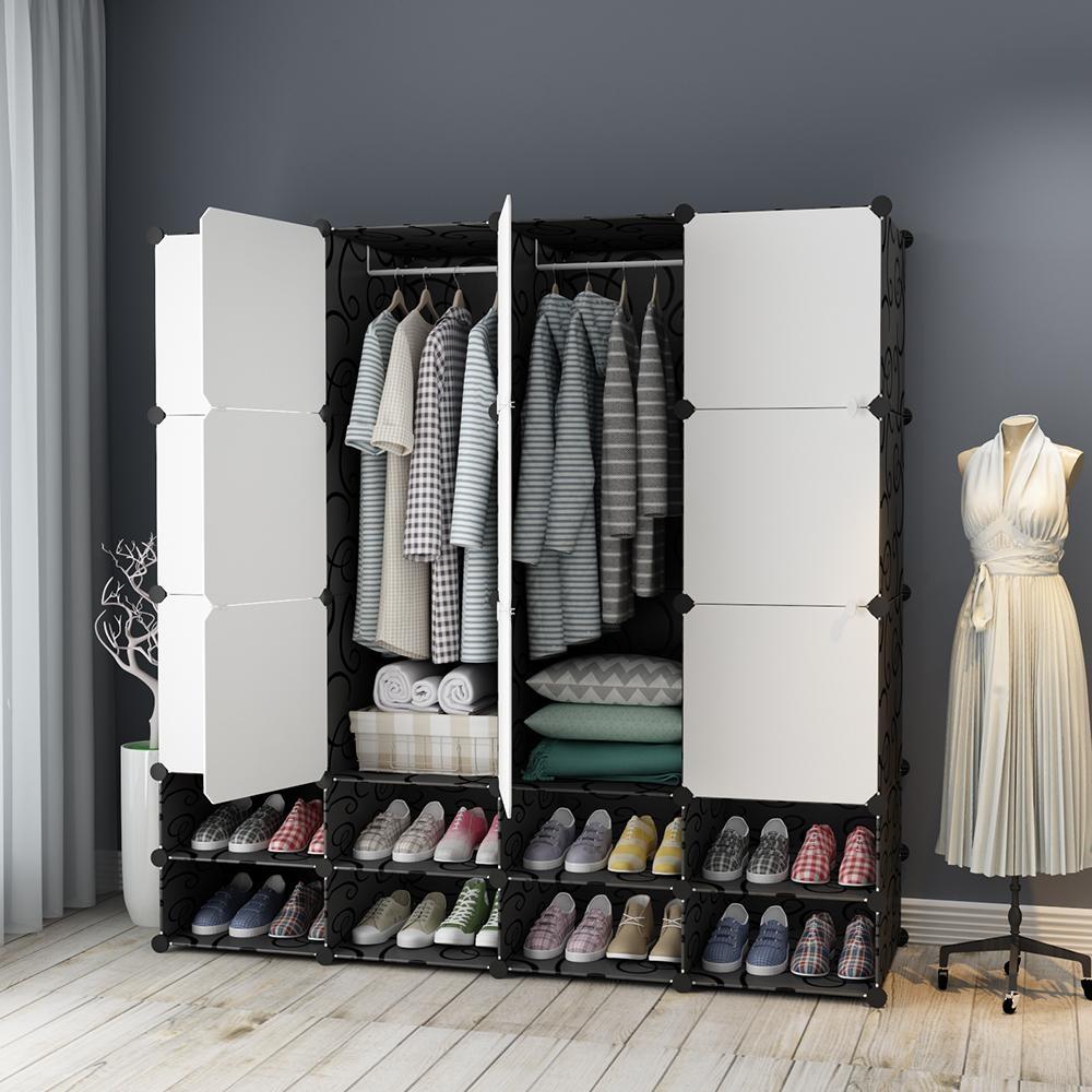 【Mr.Box】12+8格12門2掛 深47cm百變組合衣櫥收納櫃(黑白款)