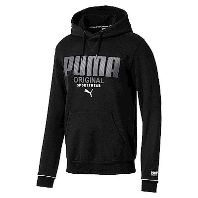 PUMA-男性基本系列運動風長厚連帽T恤-黑色-歐規