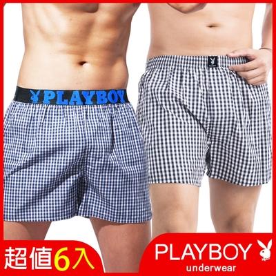 [時時樂限定] PLAYBOY_五片式格紋四角褲(6件組)_2款可選