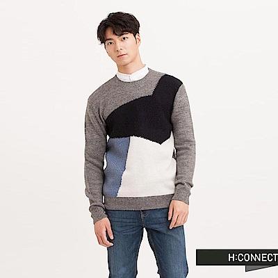 H:CONNECT 韓國品牌 男裝 - 不規則色塊針織毛衣-灰(快)