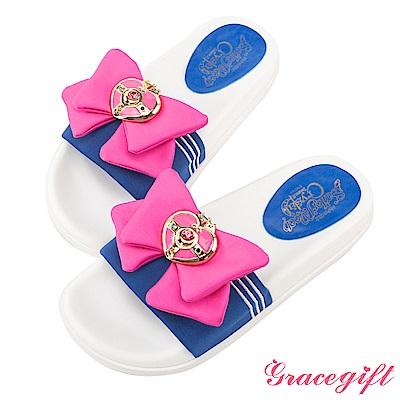 Grace gift-美少女戰士水手蝴蝶結休閒拖鞋 深藍