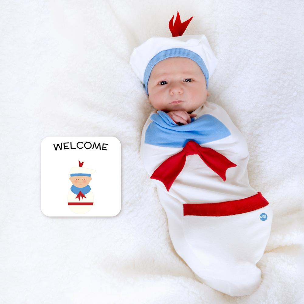 【美國 BABY joe】壯壯大力小水手穿套式實用造型包巾套組