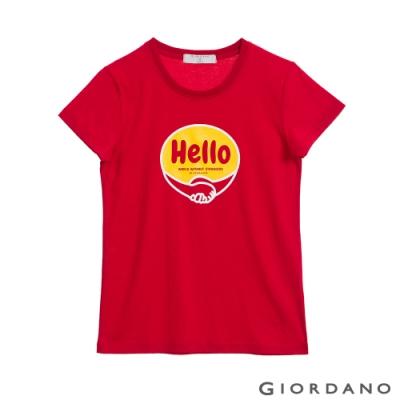 GIORDANO  女裝Greeting印花T恤 - 22 高貴紅