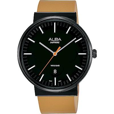 ALBA 雅柏 主張型男時尚手錶(AS9H43X1)-黑x卡其色/44mm