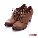 BESO 簡約知性 牛皮擦色綁帶粗跟踝靴~卡其