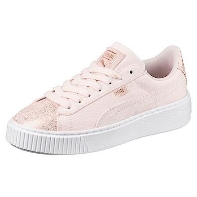 PUMA-BasketPlatformCanvasWns女休閒鞋-珍珠色