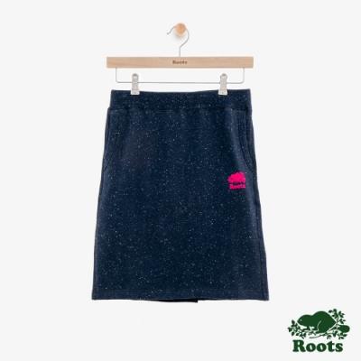 女裝Roots-結粒紗刷毛短裙-藍