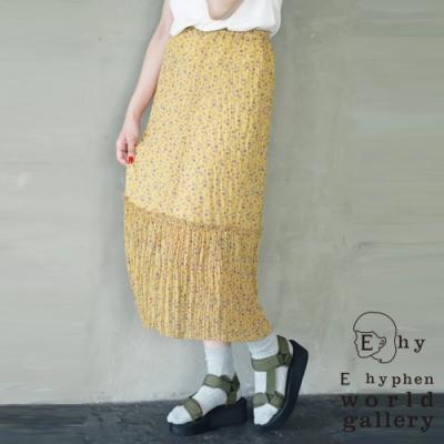 E hyphen 滿版碎花百摺拼接長裙