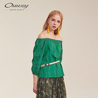 OUWEY歐薇 縷空刺繡蕾絲兩穿式上衣(桔/綠)