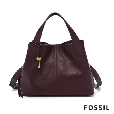 FOSSIL MAYA 柔軟真皮手提包-無花果紫紅色